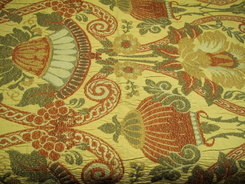 Vintage Tapestry Fabric Upholstery Bells Ferns Scrolls Floral Etsy