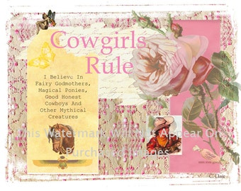 Vintage cowgirl cowboy boots instant digital download art vintage pink cowgirls rule cowboy horse instant digital download western art picture scrapbooking store tags t shirt transfer business cards reheart Image collections