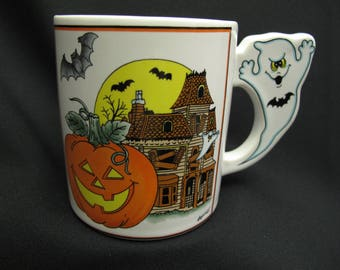 Vintage Halloween Ghost Coffee Mug Tea Cup Shabby Cottage Chic Retro Jack O Lantern Haunted House