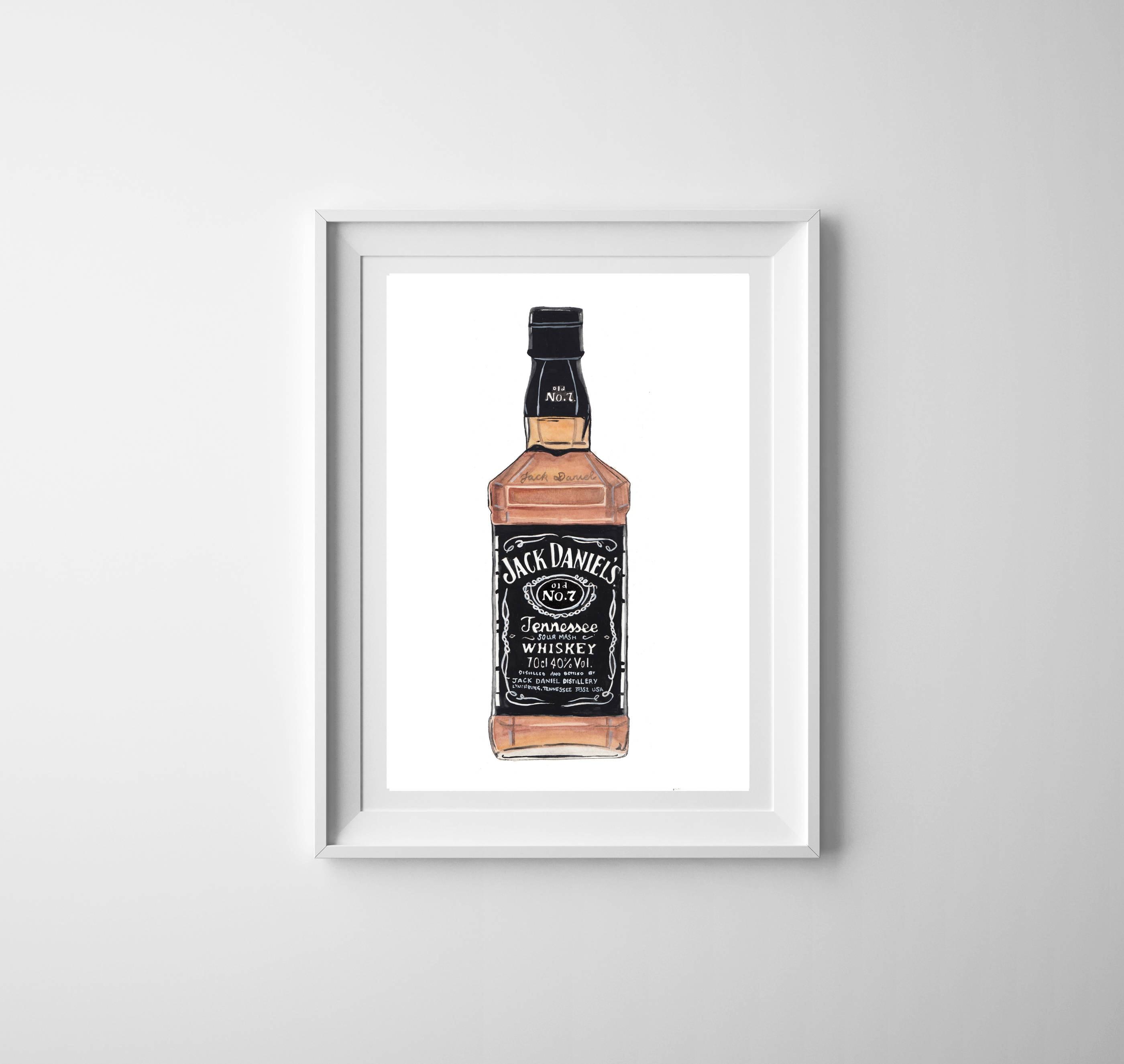 A5 Jack daniels print Watercolour illustration Whiskey | Etsy