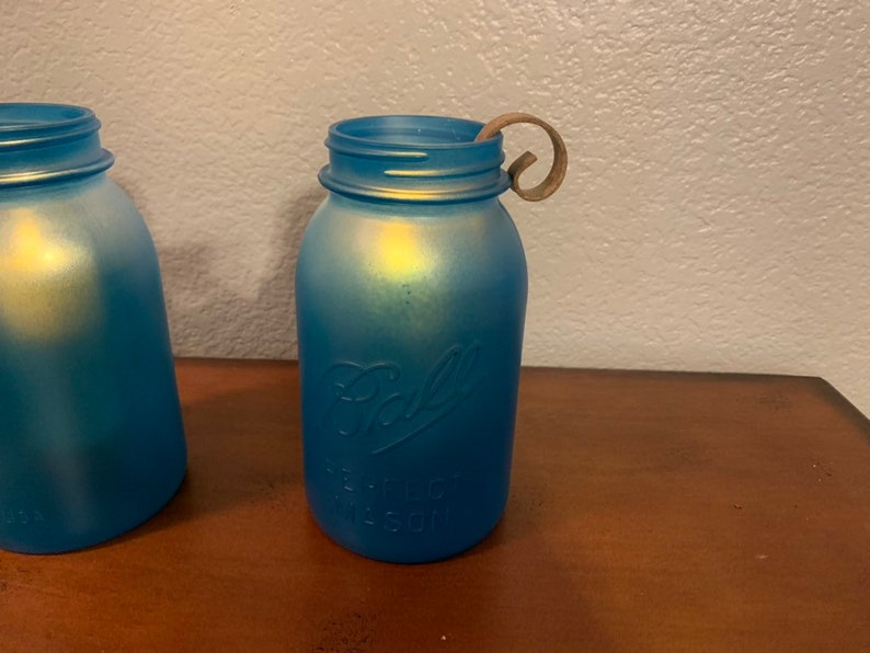 Set of 2 Rustic Wedding Decor Mason Jar Lamp Beach Wedding Lighting. Blue Sea Glass Mason Jar Candleholder
