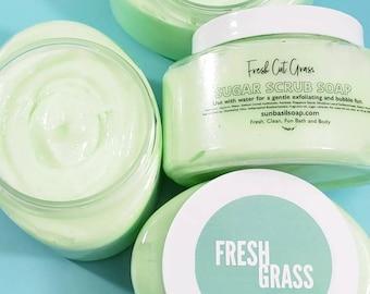 Fresh Cut Grass Sugar Scrub, Body Scrub For Men, Hand and Foot Body Scrub, 10 oz