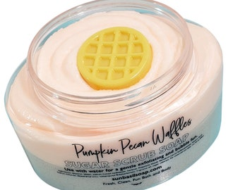 Fall Sugar Scrub. PUMPKIN PECAN WAFFLE Whipped Sugar Scrub Soap. Foaming bath whip. Gift for Her. Body Wash. Body Sugar scrub skin care bath