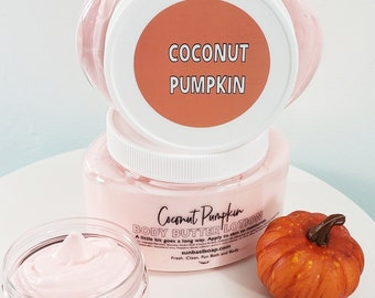 Coconut Pumpkin Body Butter Lotion. Natural Hand and Body Cream. Cozy. Warm. Comforting. Natural Body Cream. Pumpkin Pie. Moisturzing Cream