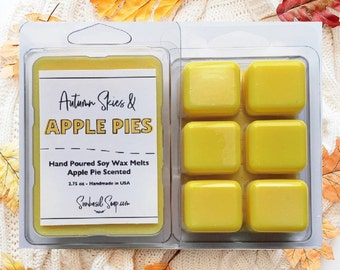 Autumn Skies & Apple Pies Wax Melt, Hand Poured, Soy Blend, Candle Tarts,  Fall Scented Candle Melts, Non Toxic Wax Tart, Made in USA