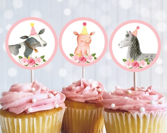 Pink Farm Birthday Cupcake Toppers Girl Farm Birthday Barnyard Birthday Pink Floral Farm Animals Printable Digital Download A510