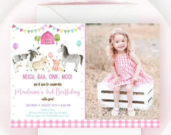 Editable Pink Farm Birthday Invitation Farm Animals Barnyard Girl Farm Party Farm Animals with Balloons Pink Gold Digital Download A629