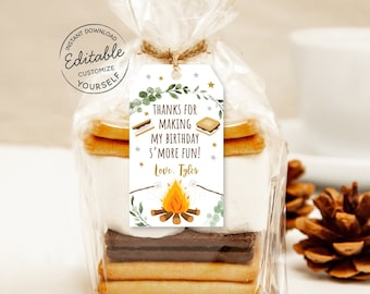 EDITABLE S'mores Birthday Thank You Tags Favor Tags Smore Fun S'mores Party Campfire Bonfire Camping Printable Instant Download Corjl A520