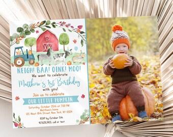 Editable Farm Birthday Invitation Farm Animals Fall Pumpkin Barnyard Boy Birthday Invite Digital Printable Instant Download Template A511