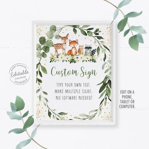 Custom woodland forest animal greenery wreath forest babyshower wedding doljanchi first birthday party sign 8x10 Printable Digital DIY
