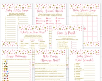 Pink Twinkle Star Baby Shower Games Package Pink Gold Girl Baby Shower Little Star Set of 8 Games Printable Instant Download A196