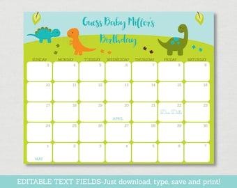 Sju Calendar.Dinosaur Calendar Etsy