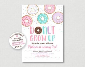 Donut Grow Up Invite Etsy