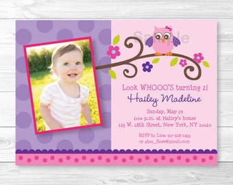 Cute Owl Birthday Invitation Invite Pink Purple Girl 1st Any Age PRINTABLE A343