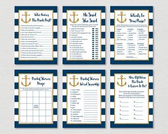 nautical bridal shower games package nautical bridal shower anchor navy gold 6 printable bridal games instant download b101