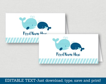 Whale place cards | Etsy