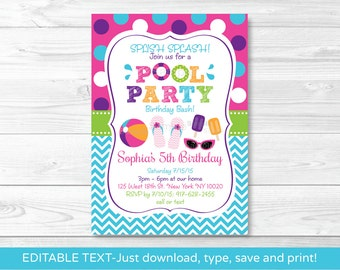 Girls Pool Party Invitation Invite Summer Girl Birthday INSTANT DOWNLOAD Editable PDF A406