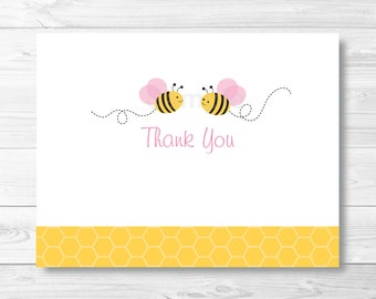 bumble bee thank you card template bumble bee baby shower etsy