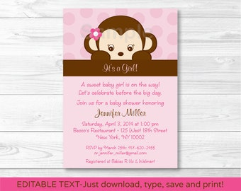 Monkey baby shower etsy girl monkey baby shower invitation monkey baby shower pink monkey baby girl shower instant download editable pdf a421 filmwisefo