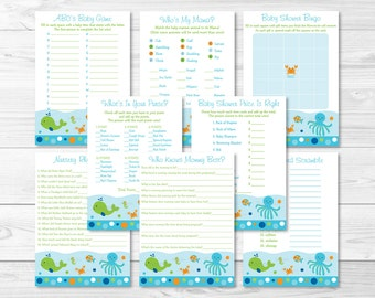Nautical Anchor Baby Shower Games Package 8 Printable Games Etsy