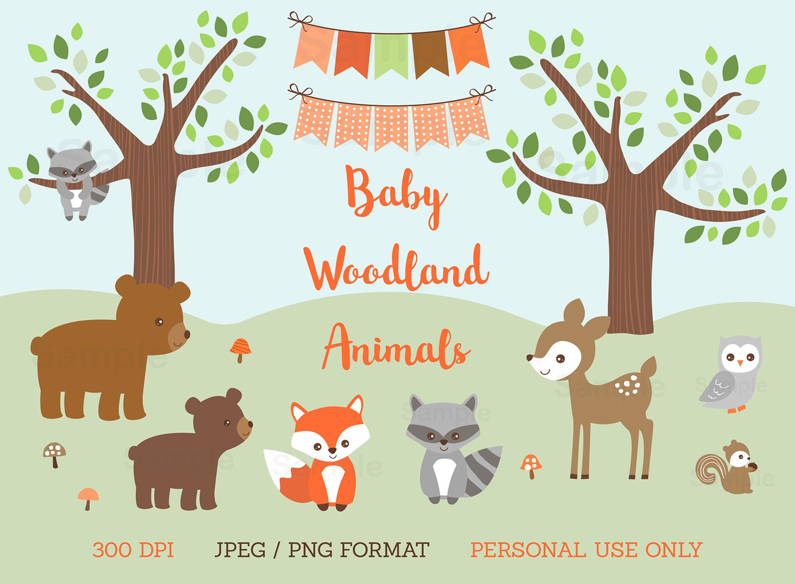 Woodland Animal Clipart Woodland Baby Shower Forest Animal Etsy