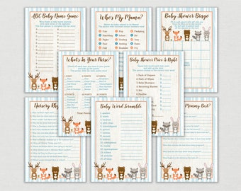 Blue Woodland Animal Baby Shower Games Package / Woodland Baby Shower Games / 8 Printable Games / INSTANT DOWNLOAD A448