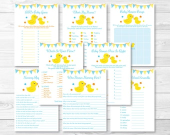 Rubber Ducky Baby Shower Games Package / Rubber Duck Shower / 8 Printable Games / Rubber Ducky Shower / INSTANT DOWNLOAD A276
