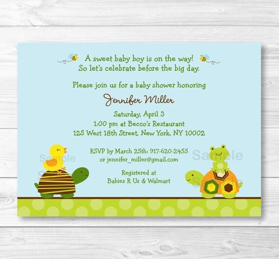 Cute Turtle Baby Shower Invitation Turtle Baby Shower Invite Etsy