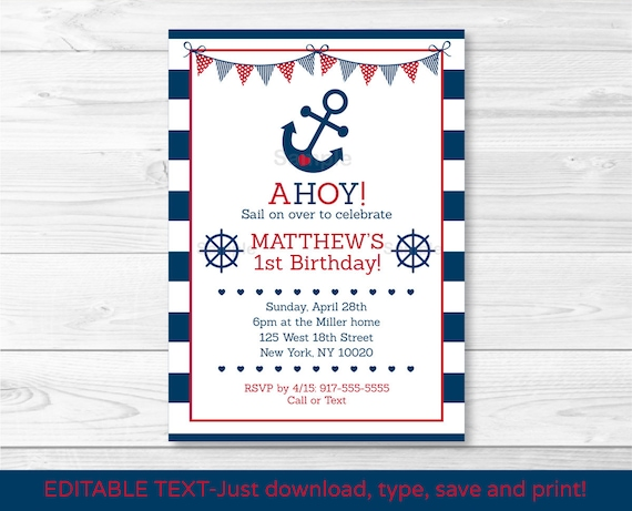 Nautical Anchor Birthday Invitation First Invite INSTANT DOWNLOAD Editable PDF A212
