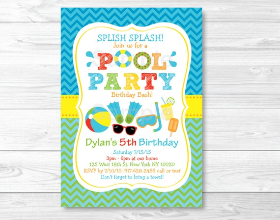 Cute Pool Party Birthday Invitation Invite Boys Summer Personalized PRINTABLE A333