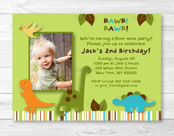 Cute Dinosaur Birthday Invitation Invite 1st 2nd Any Age PRINTABLE A317