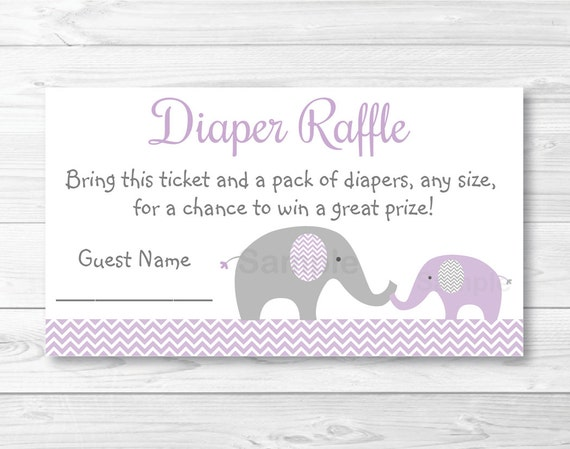 Cute Elephant Diaper Raffle Tickets Elephant Baby Shower