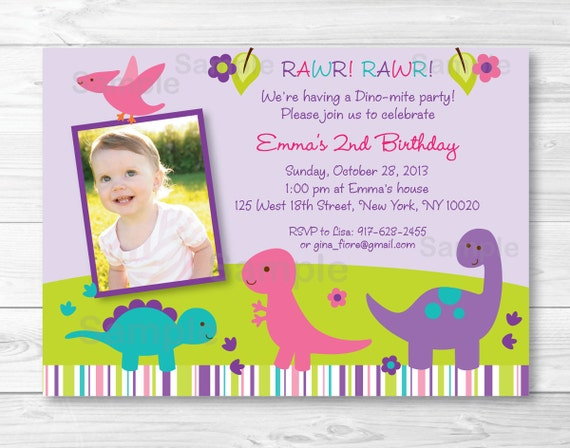 Cute Girl Dinosaur Birthday Invitation Invite Pink Purple 1st 2nd Any Age PRINTABLE A280