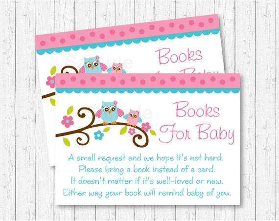 Pink Owl Printable Baby Shower Book Request Cards
