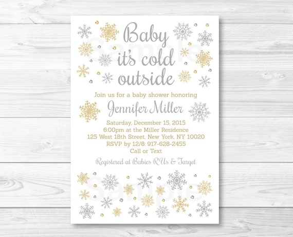silver gold glitter snowflake baby shower invitation baby it s