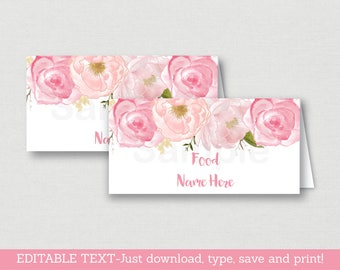 Soft Pink Floral Food Tent Cards / Food Labels / Place Cards / Floral Baby Shower / Watercolor Floral / INSTANT DOWNLOAD Editable PDF A170