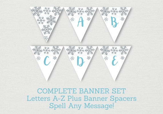 Blue Silver Snowflake Baby Shower Banner Snowflake Baby Shower