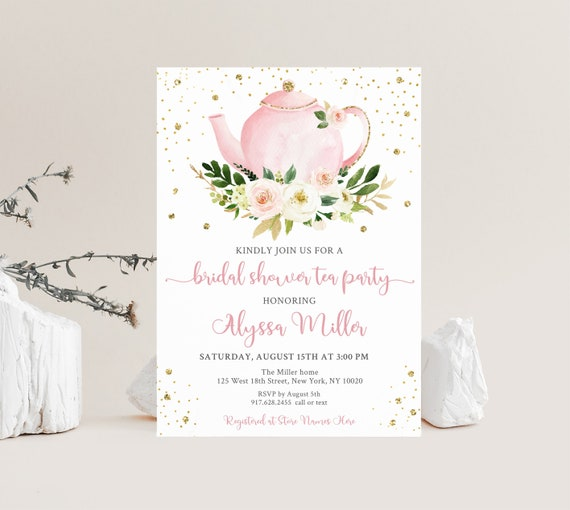 Watercolor Tea Party Invite Customizable Luncheon Elegant Bridal Shower Bridesmaids Brunch Invitation Bridal Brunch