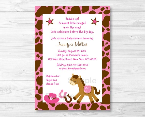 Pink Cowgirl Pony Baby Shower Invitation Printable A326 By Little