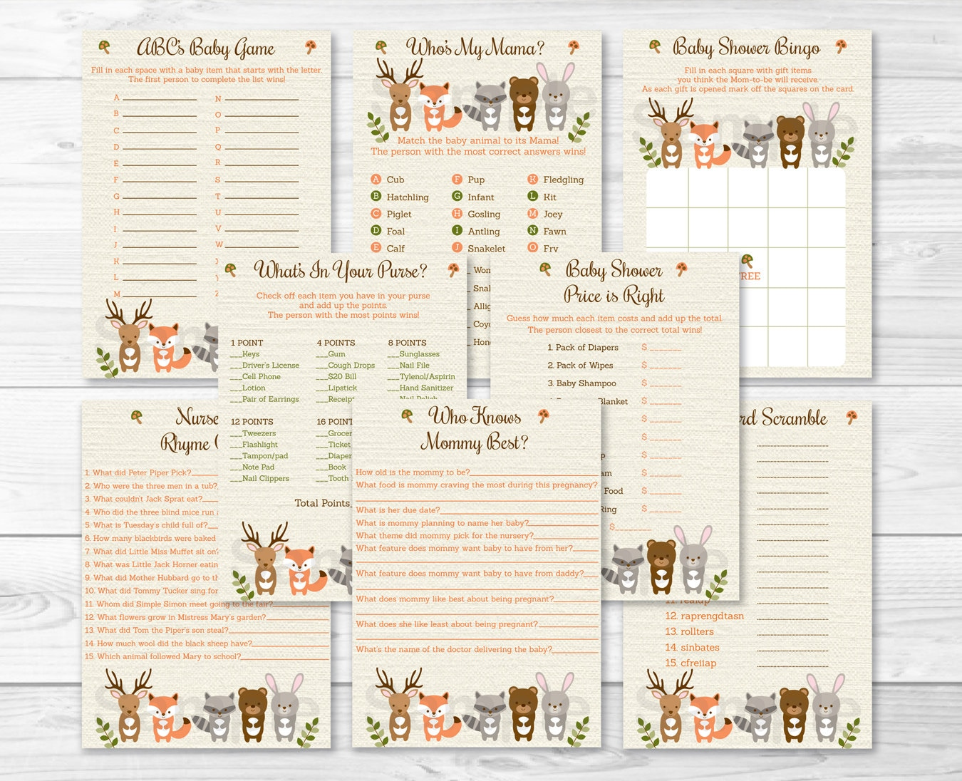 Woodland Forest Animal Baby Shower Games Package 8 Printable Etsy