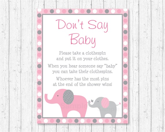 Pink Elephant Don T Say Baby Game Elephant Baby Shower Pink
