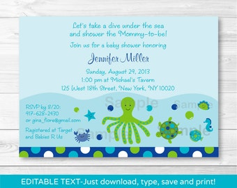 Under the Sea Baby Shower Invitation INSTANT DOWNLOAD Editable PDF A356