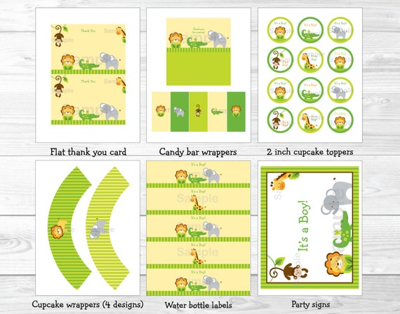 Cute Jungle Animal Baby Shower Party Package Jungle Animal Baby