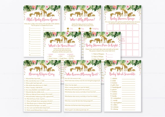 Whats In Your Purse Who Knows Mommy Best The Price Is Right Word Scramble Bingo Safari Baby Shower Game Set Templates