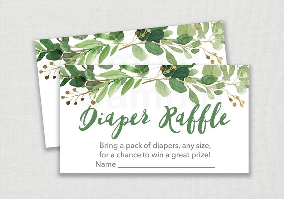 green floral diaper raffle tickets    greenery baby shower