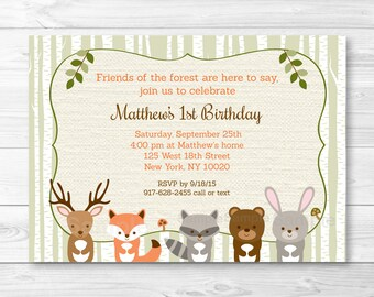 Cute Woodland Animal Birthday Invitation / Woodland Birthday Invite / Woodland 1st Birthday / 2nd Birthday / Any Age / PRINTABLE A187