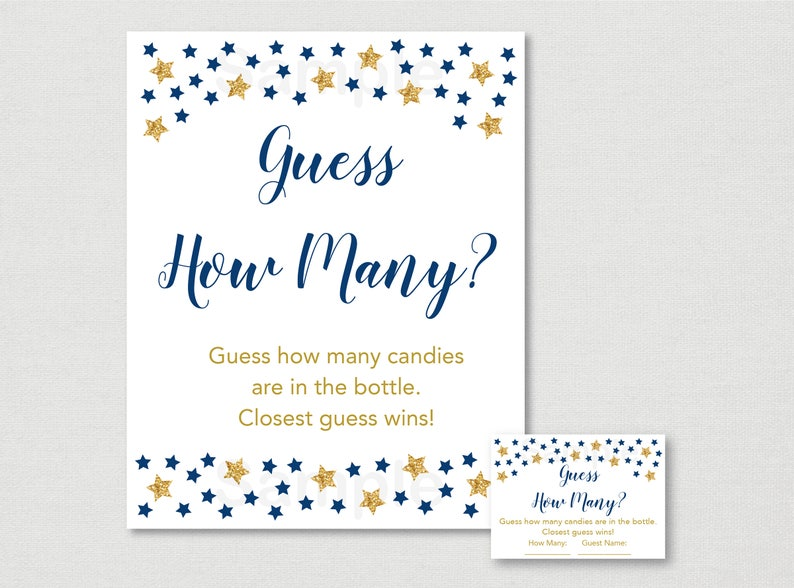 """Blue Twinkle Star Printable Baby Shower /""""Guess How Many?/"""" Game Cards"""