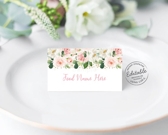 Black and White Floral Food Tents Instant Download Bridal Shower Baby Shower Food Labels Editable