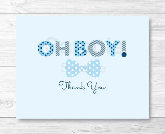Oh Boy Bow Tie Folded Thank You Card Template Little Man Etsy