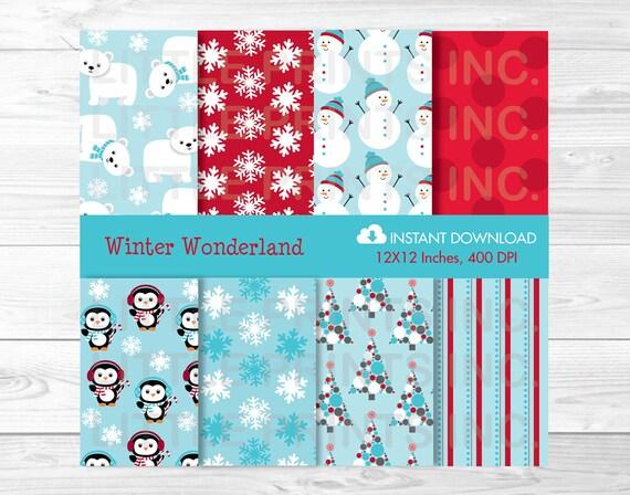 winter wonderland penguin snowman polar bear digital paper. Black Bedroom Furniture Sets. Home Design Ideas